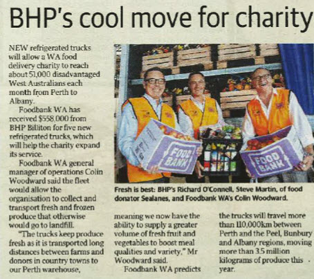 Sealanes Joins with BHP & Foodbank Scan